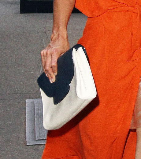 A close-up of the classic blue and white clutch.