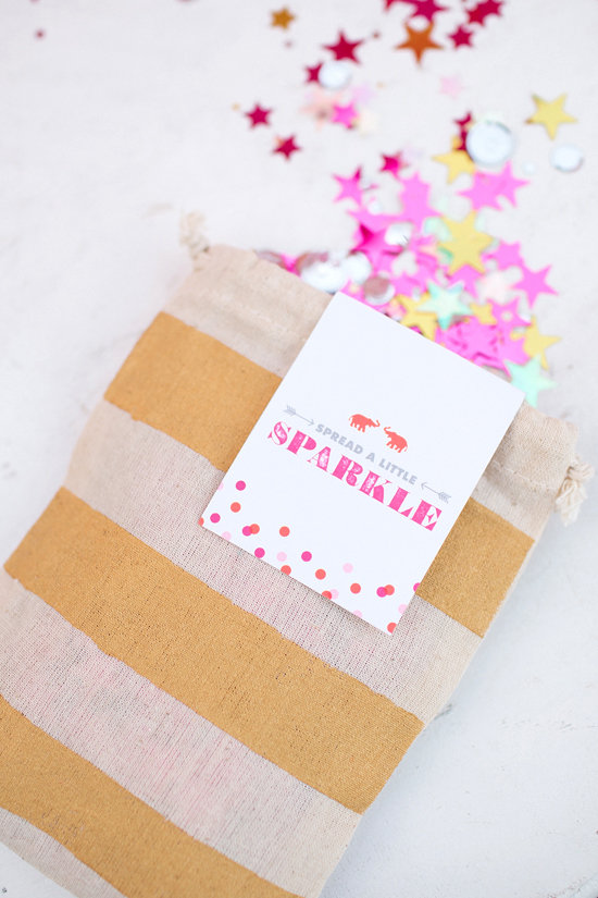DIY Gold Striped Confetti Bags