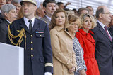 Valérie Trierweiler stood beside Brigitte Ayrault, the wife of France's prime minister, and Véronique Bartolone, the wife of the French National Assembly speaker, ahead of the Bastille Day military parade in Paris.