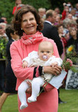 Sweden's Queen Silvia held her granddaughter, Princess Estelle.