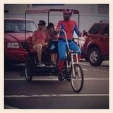 The pedi cab drivers went all out, like our friend Spidey here.