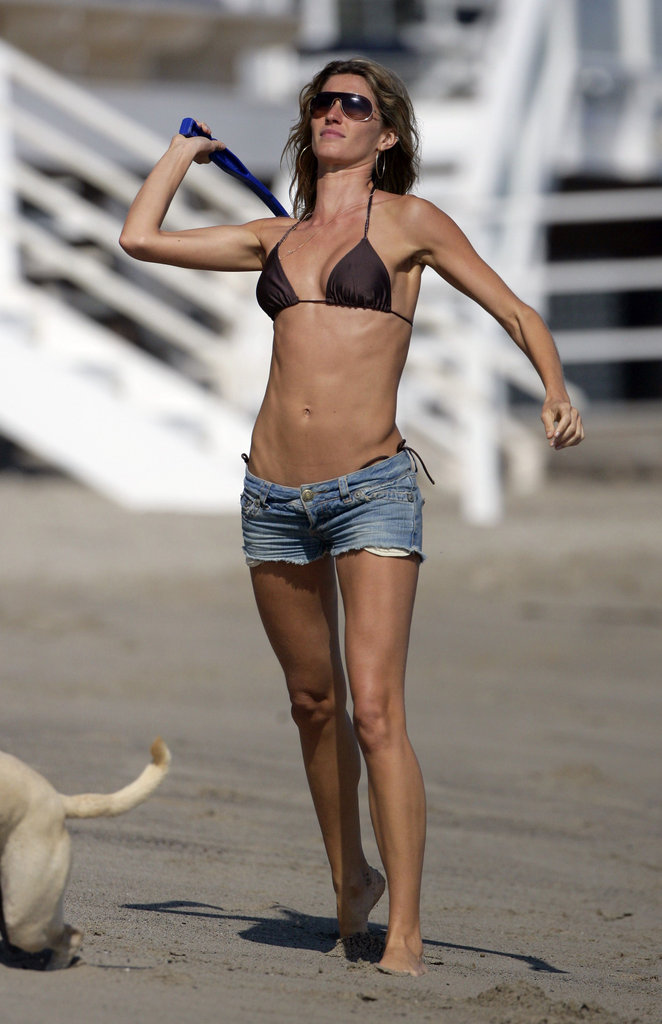 She played fetch with dogs during a day in Malibu in July 2006.