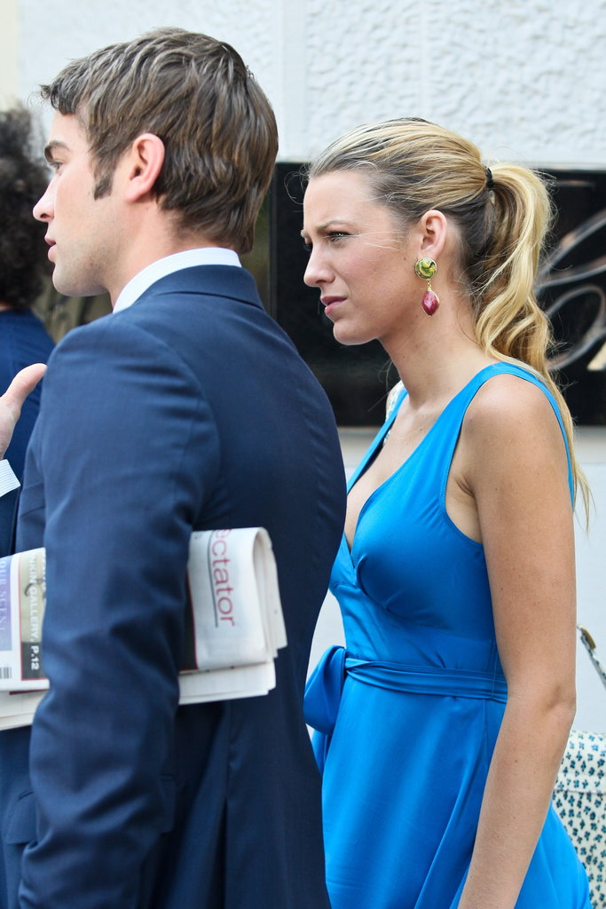 Chace Crawford carried a newspaper under his arm during a scene he was shooting with Blake Lively.