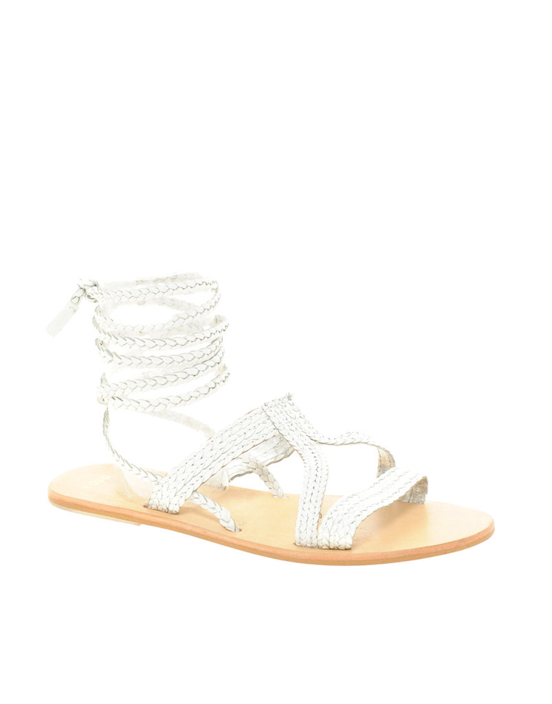 These ankle-wrap sandals add interest but are deceptively easy to pull off.  ASOS Fiji Leather Tie Up Flat Sandals ($33)