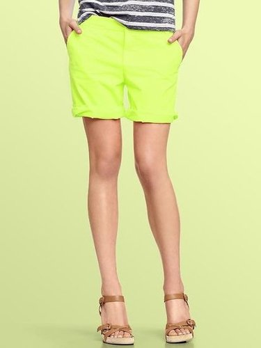 These are just as comfortable as your PJs but infinitely cooler.  Gap Neon Boyfriend Roll-Up Shorts ($40)