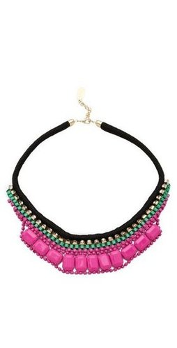 A statement necklace like this is your simple solution to adding interest without trying too hard.  Adia Kibur Bright Rocks Crystal Rope Necklace ($84)