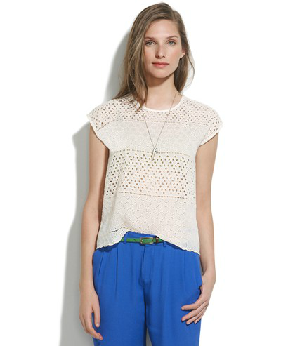 A top like this is as breathable as it is pretty — win, win.  Madewell Eyelet Cropped Top ($90)