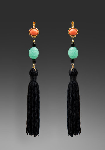 Don't overcomplicate things. Just add these to a black maxi dress look, and you're out the door.  Kenneth Jay Lane Drop Tassel Earrings ($52)
