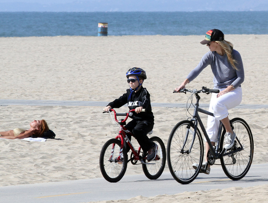 Kate Hudson and Ryder Robinson went for a bike ride along the beach in Santa Monica this year.