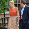 Blake Lively Wearing Orange Top on Gossip Girl Set