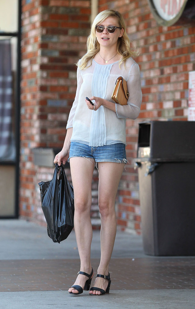 Kirsten Dunst wore strappy sandals and a loose-fitting top in Toluca Lake.
