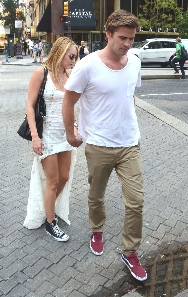 Miley Cyrus followed Liam Hemsworth across the street.