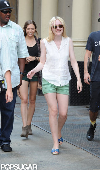 Dakota Fanning on the set of her new film in New York City.
