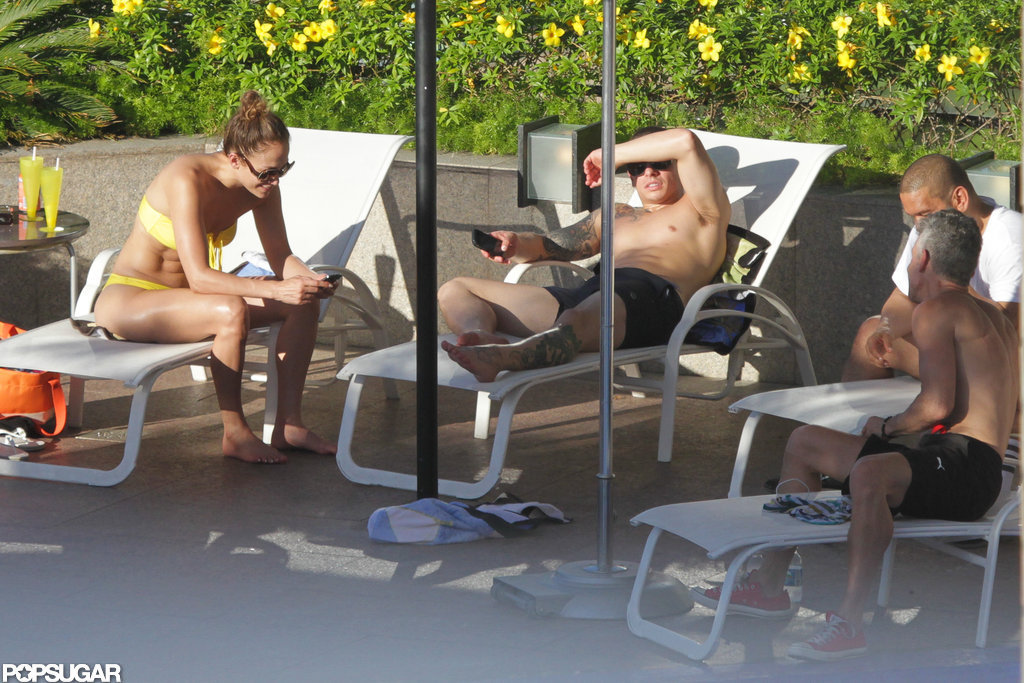 Jennifer Lopez and Casper Smart hung out by the pool.