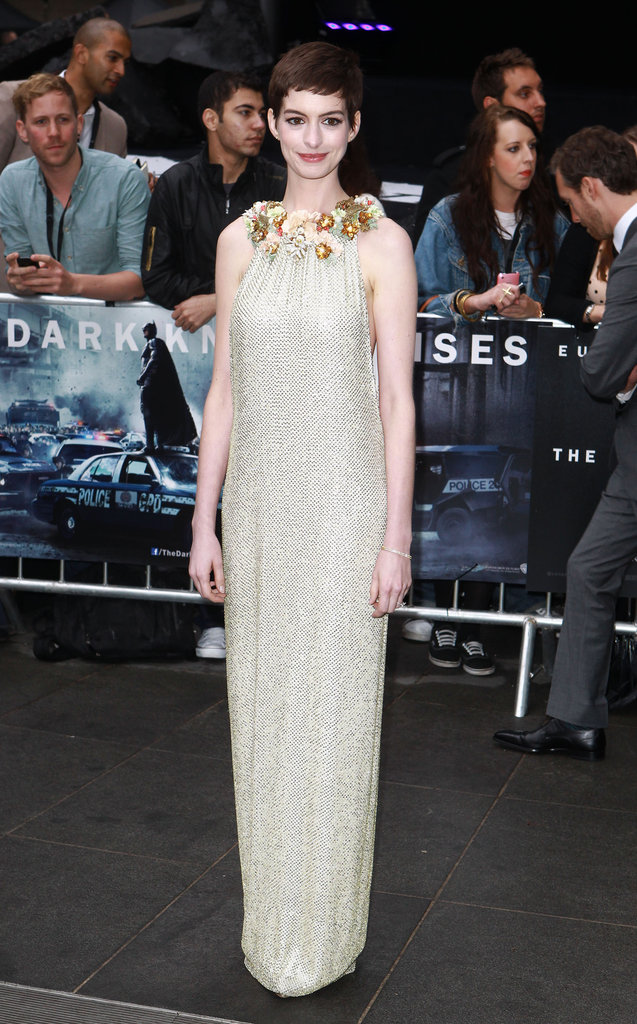 Anne debuted this floral-collared, gold-beaded Gucci halter gown at the film's European premiere.