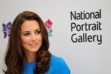 Catherine, Duchess of Cambridge, visited the Road To 2012: Aiming High exhibition at the National Portrait Gallery in London.