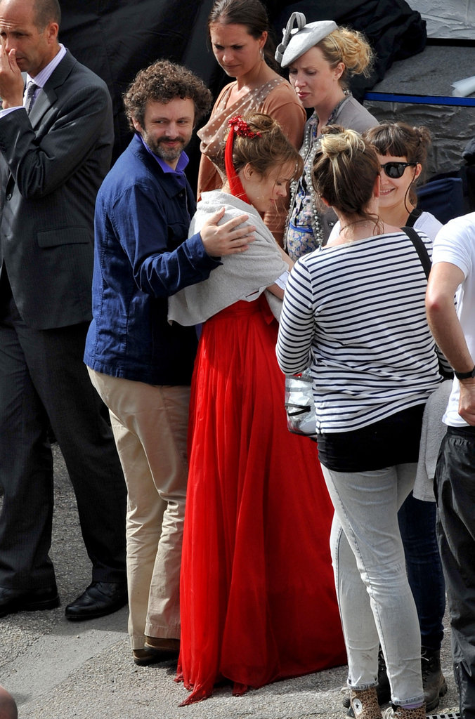 Michael Sheen had his arm around Rachel McAdams while on the set of her latest film, About Time.
