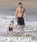 Ben Affleck was shirtless on the beach with Seraphina.