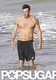 Ben Affleck went shirtless on the beach.