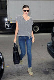 Miranda Kerr Hits the Streets of NYC in Summer Stripes