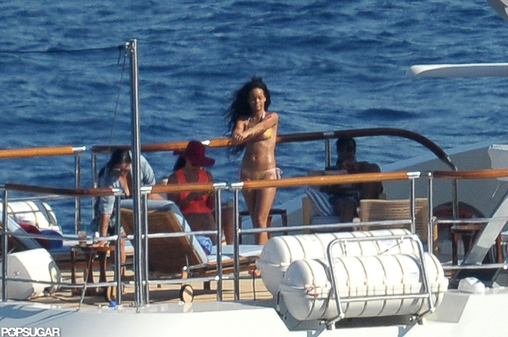 Rihanna yachted with friends.