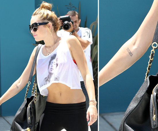 "In May 2012 Miley Cyrus had ""VIIXCI"" tattooed on the inside of her right forearm."