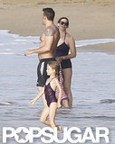 Shirtless Ben Affleck hit the beach in Puerto Rico with Jennifer Garner and Violet.