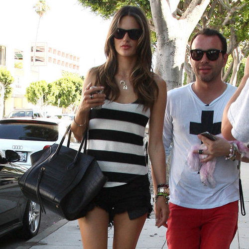 Alessandra Ambrosio Wearing Red Studded Boots
