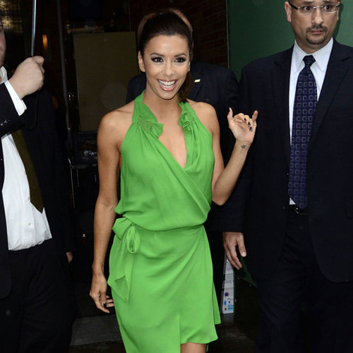 Eva Longoria Wearing Green Wrap Dress