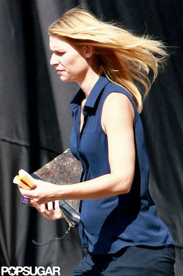 Claire Danes grabbed a ham sandwich on set in North Carolina.