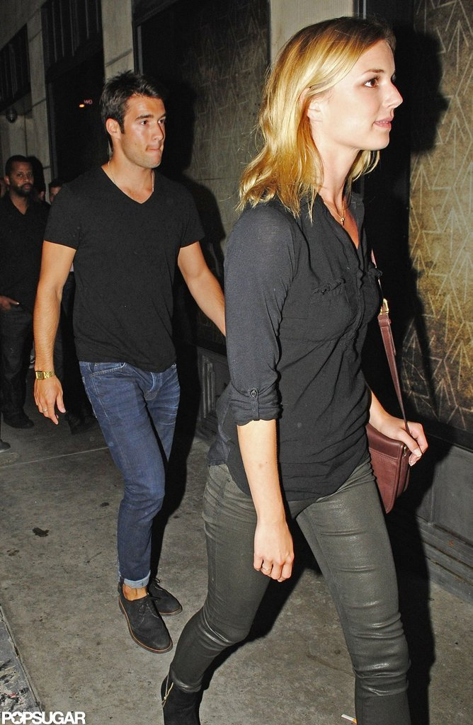 Emily VanCamp and Josh Bowman made their way out of a Hollywood  club.