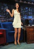 Selena made a stylish visit to Late Night With Jimmy Fallon in 2011, wearing a drape-y, cream-colored dress by J.Mendel.