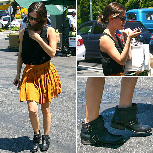 Rachel Bilson's Biker Boots + Skirt Is the Best of Both Style Worlds