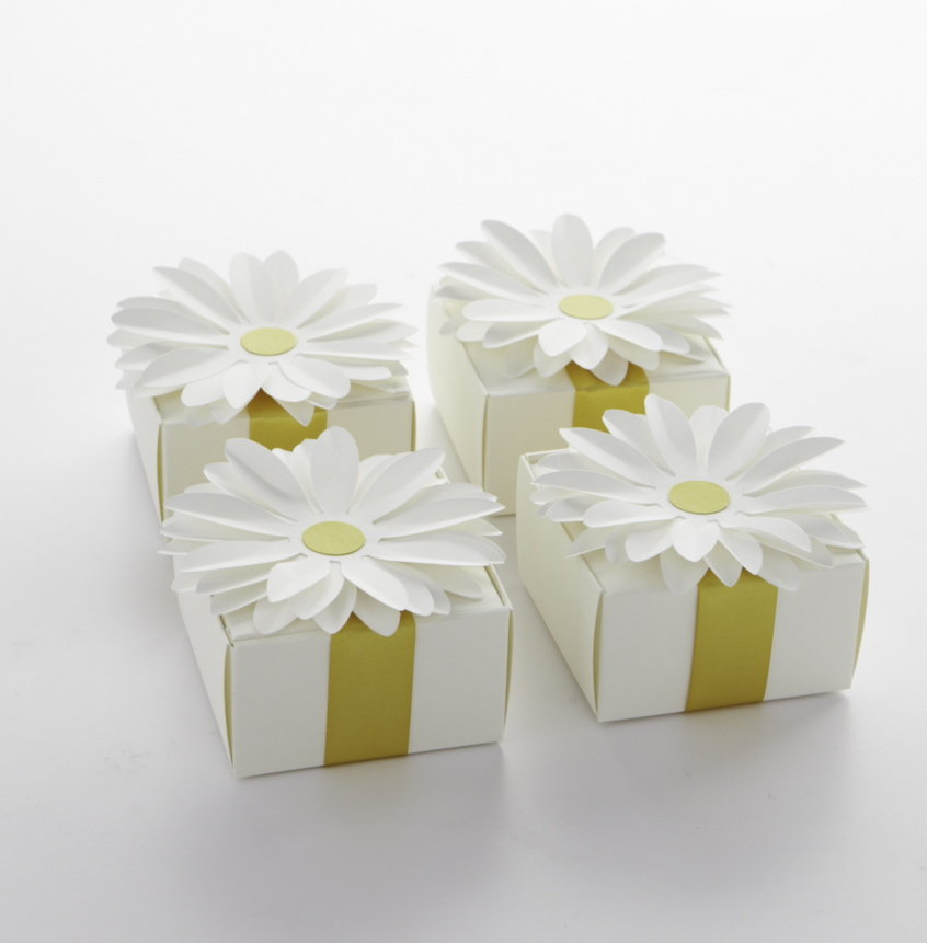 These daisy-topped favor boxes bring part of the party home with guests. Source: Photos by Bryan Gardner. Courtesy of Martha Stewart