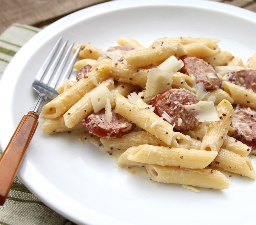 Sausage With Mustard Cream Sauce