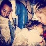 Doutzen Kroes; her husband, Sunnery James; and their son, Phyllon, slept soundly during a plane ride. Source: Instagram user doutzenkroes1
