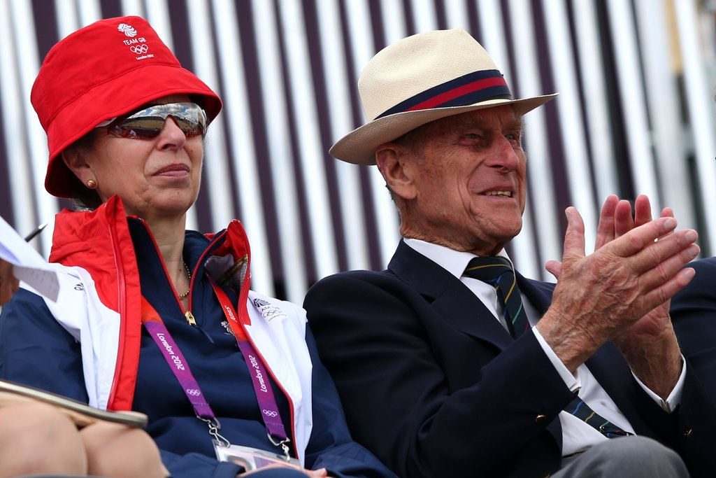 Prince Philip and his daughter, Princess Anne, watched Zara Philips compete for Britain's equestrian team.
