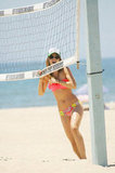 AnnaLynne McCord hung out on the beach volleyball court.