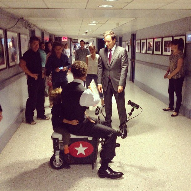 Matthew McConaughey and his son, Levi, met with Jimmy Fallon backstage at Late Night. Source: Instagram user questlove