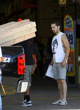 Shia LaBeouf had help filling up his truck with lumber.