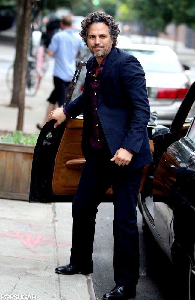 Mark Ruffalo stepped out of a car on set in NYC.