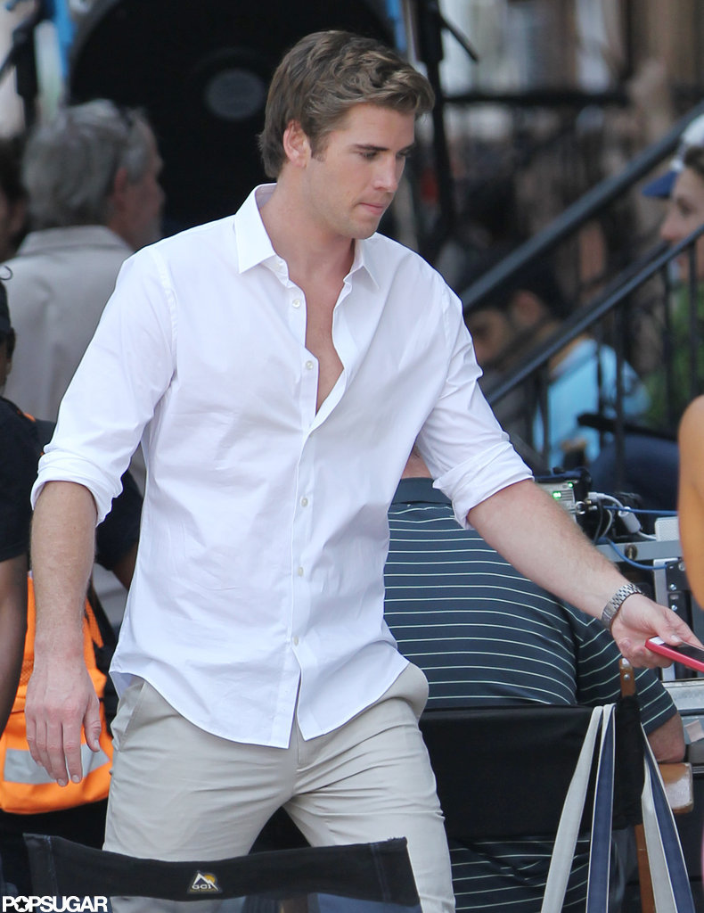 Liam Hemsworth arrived to the set of Paranoia in Philadelphia, PA.