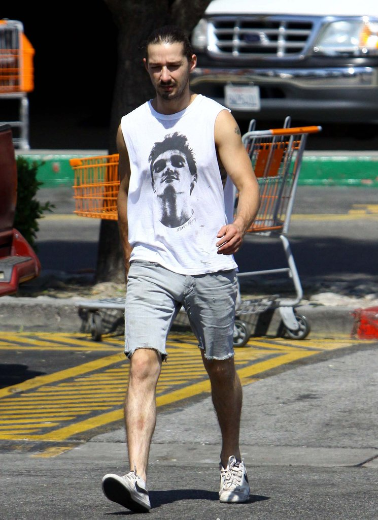 Shia LaBeouf slicked back his hair while running errands.
