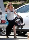 Hilary Duff took Luca out of the car in LA.