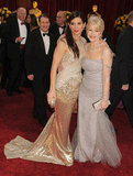 Sandra Bullock met up with Helen Mirren on the red carpet at the March 2010 Oscar ceremony in LA.