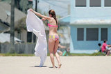 AnnaLynne McCord dried off with a towel on the beach.