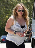 Hilary Duff wore a white sweater.