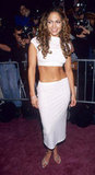 Jennifer Lopez wore a tight white look for the May 1999 launch of her On the 6 album.