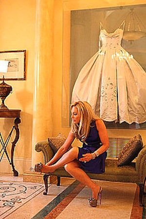 Adrienne Maloof from The Real Housewives of Beverly Hills couldn't bear to tuck her gorgeous wedding gown away in her closet. Instead, she decided to frame and display it.  Photo courtesy of Bravo