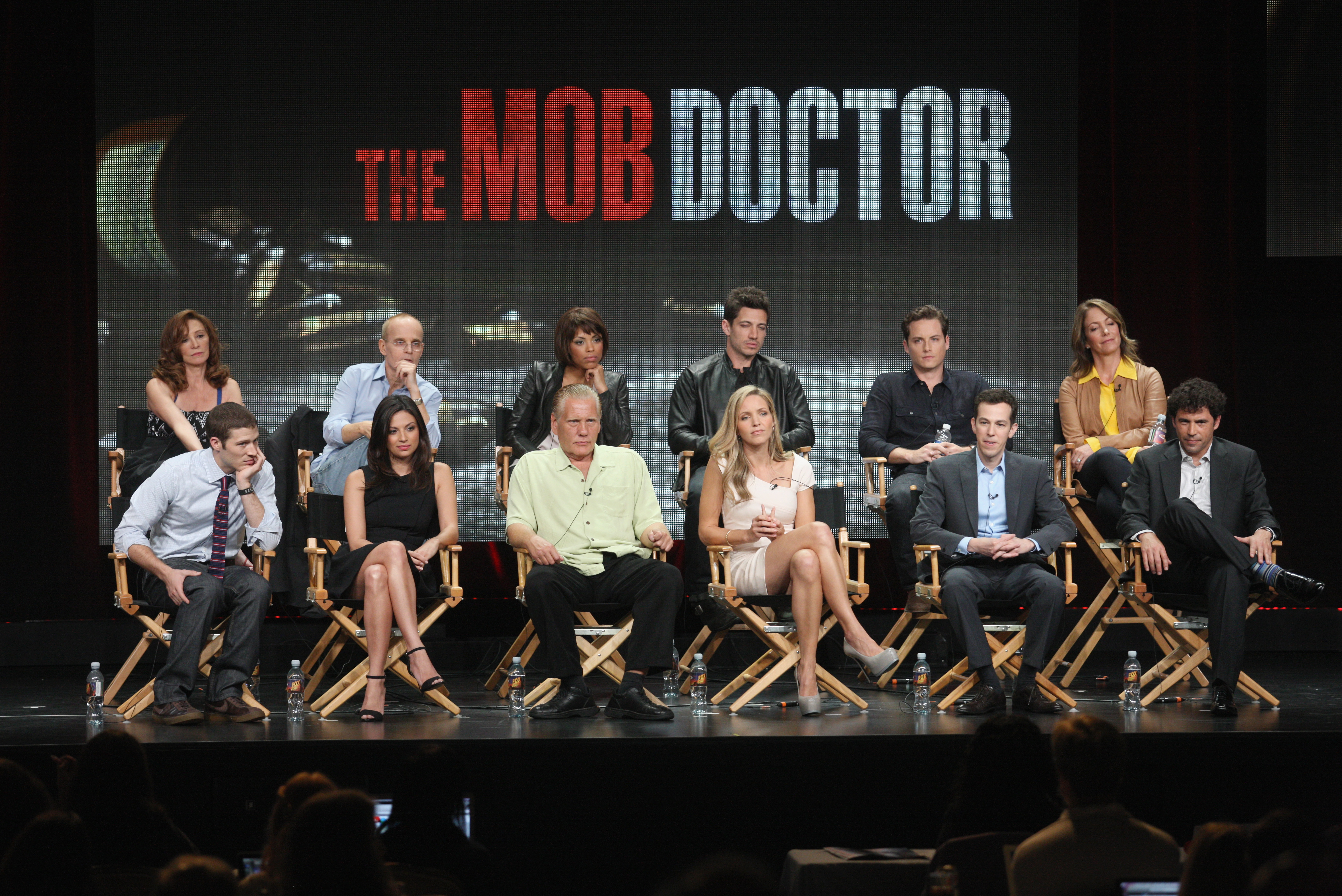 Wendy Makkena, Zeljko Ivanek, Jaime Lee Kirchner, James Carpinello and Jesse Lee Soffer and executive producer Carla Kettner, Zach Gilford, Floriana Lima, William Forsythe, Jordana Spiro and co-creators/executive producers Josh Berman and Rob Wright spoke onstage at The Mob Doctor panel during Fox's 2012 TCA presentation.